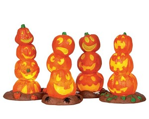 Lemax Spooky Town Light Up Pumpkin Stack Set of 4 Battery Operated # 34623