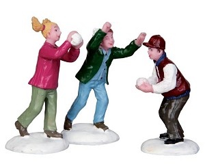 Lemax Village Collection Snowball Fight! Set of 3 # 42241