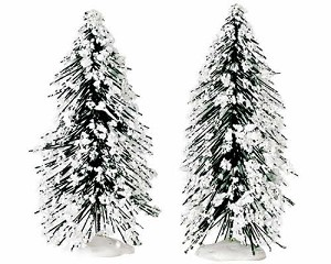 Lemax Village Collection Needle Pine Tree Set of 2 Small 4 inch # 44083