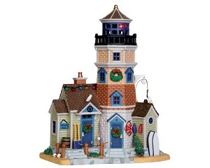 **NO OUTER BOX** Lemax Village Collection Holly Bay Lighthouse with Adaptor # 45688  **READ DESCRIPTION**