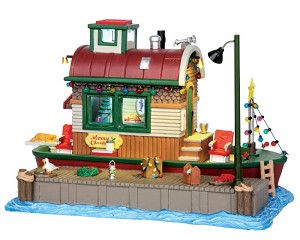 Lemax Village Collection Houseboat Celebration with Adaptor # 45727