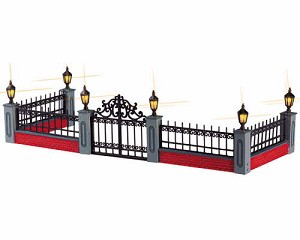 Lemax Village Collection Lighted Wrought Iron Fence Set of 5 # 54303