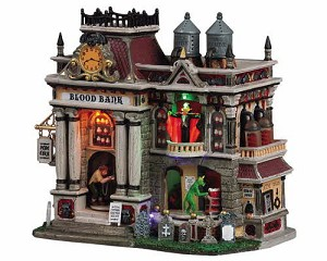 Lemax Spooky Town The Blood Bank with Adaptor # 55239