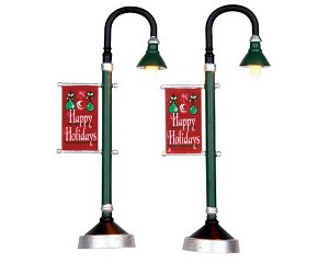 Lemax Village Collection Municipal Street Lamp Set of 2 Battery Operated  # 64065