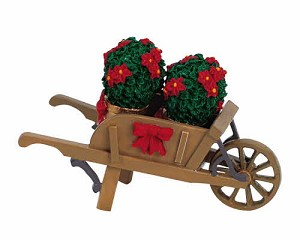 Lemax Village Collection Wheelbarrow With Poinsettias # 64479