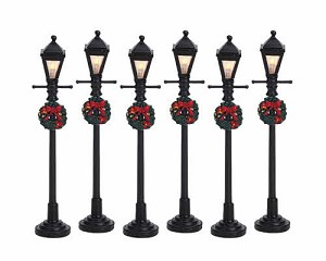Lemax Village Collection Gas Lantern Street Lamp Set of 6 # 64499
