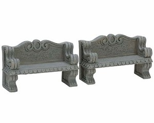 Lemax Village Collection Stone Bench Set of 2 # 74612