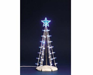 Lemax Village Collection Lighted Silhouette Tree Blue 6 inch # 74658