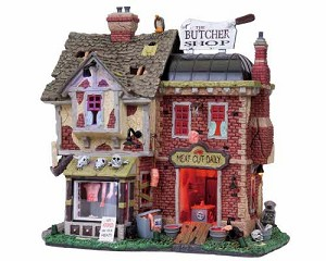 **NO OUTER BOX** Lemax Spooky Town The Butcher Shop with Adaptor # 85663 **READ DESCRIPTION**