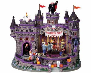 **NO OUTER BOX** Lemax Spooky Town Halloween Party with Adaptor # 85669 **READ DESCRIPTION**