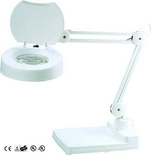 Table Magnifying Lamp 5 inch 3 Diopter Lens with Cover White